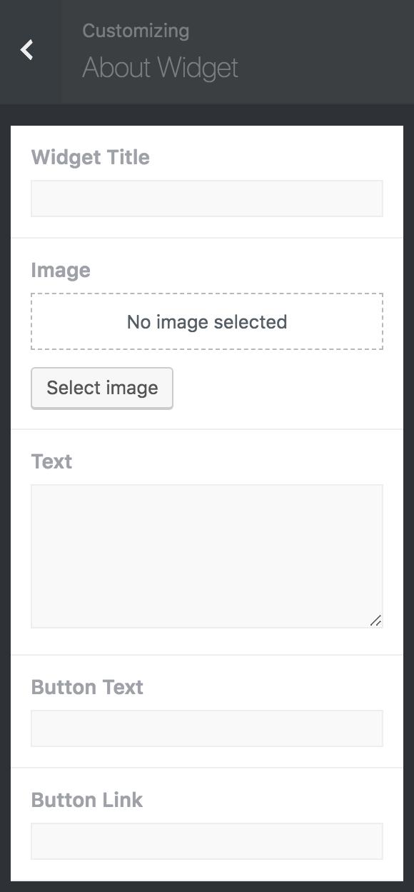 8bit Theme customizer About widget options