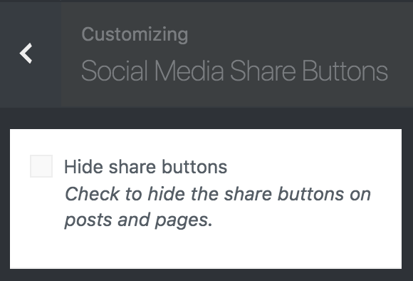 Brutalist Theme customizer social media share buttons options