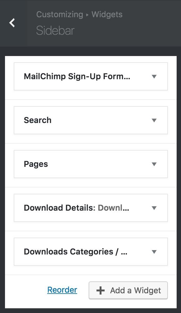 8bit Theme customizer widgets options