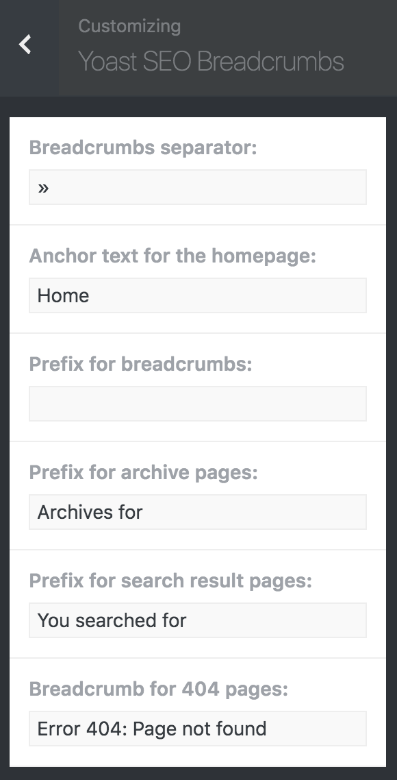 Brutalist Theme customizer breadcrumbs options