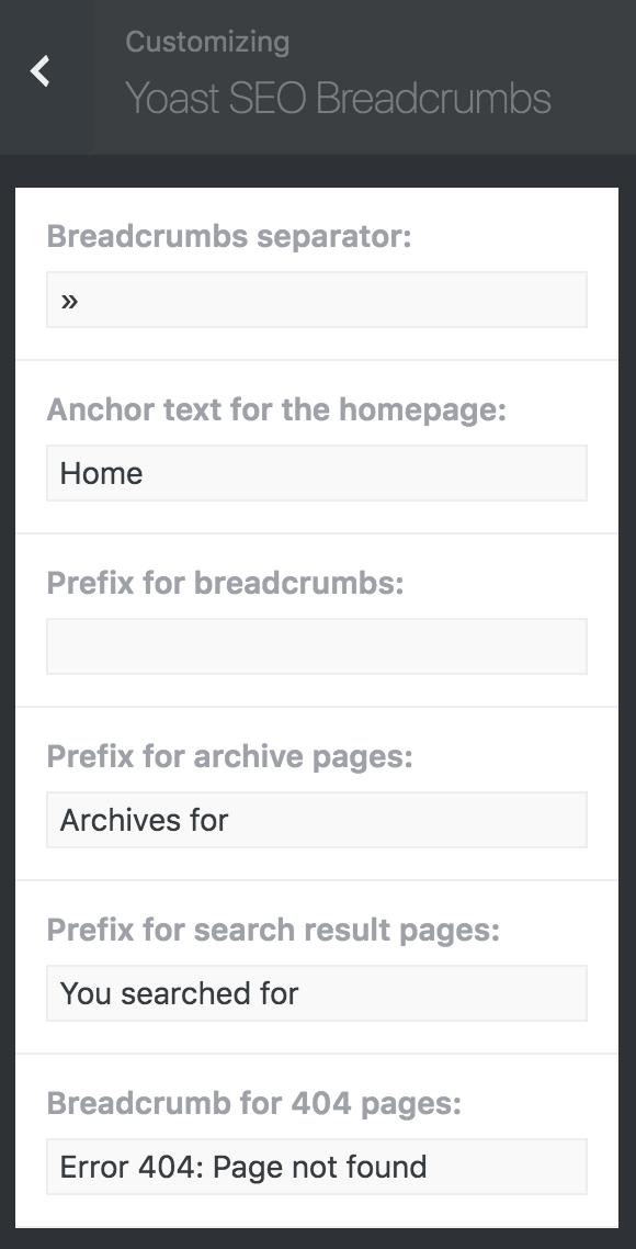 8bit Theme customizer breadcrumbs options