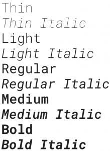 Roboto Mono font from Google Fonts