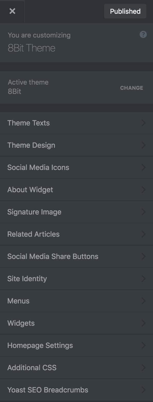 8bit Theme customizer theme options