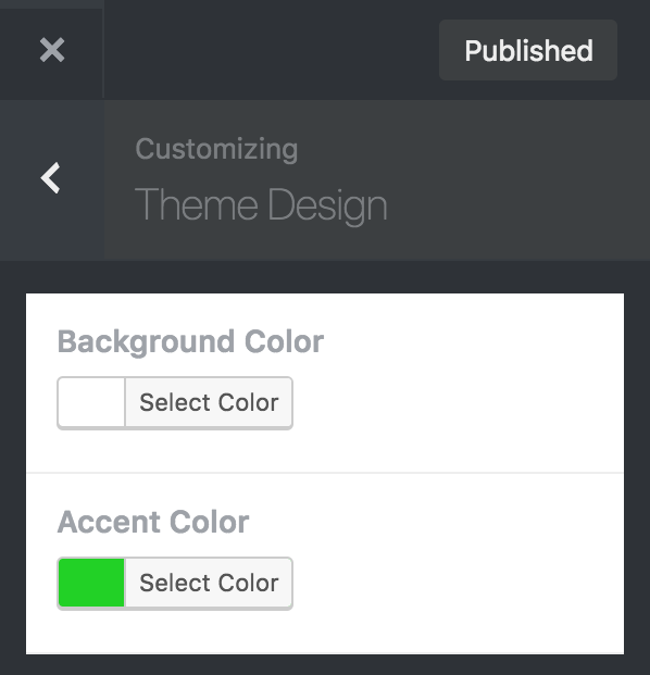 8bit Theme customizer theme design options