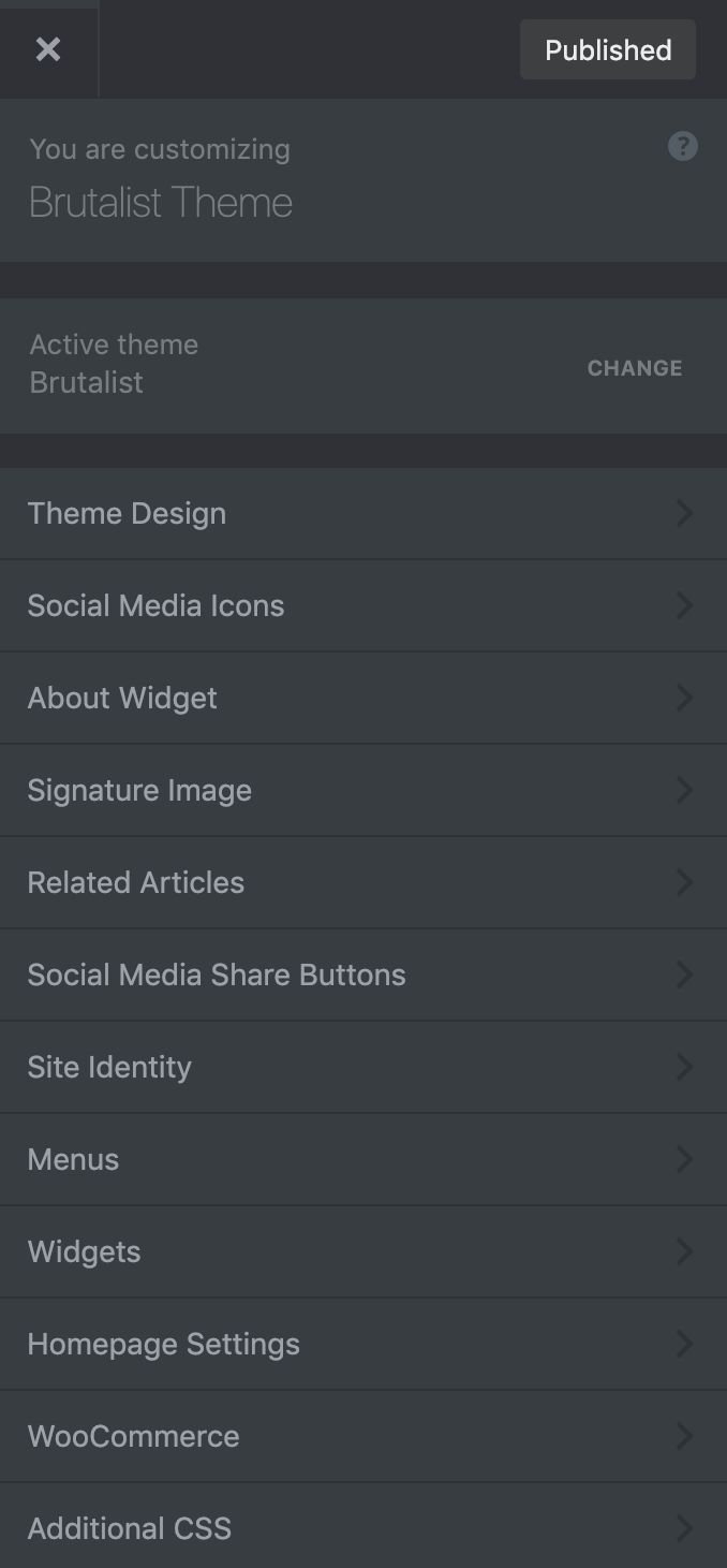 Brutalist Theme customizer theme options