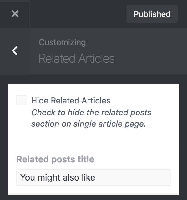 8bit Theme customizer Related Articles section options