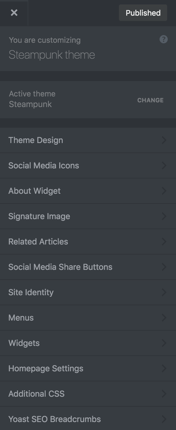 Steampunk theme customizer theme options